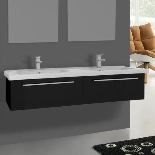 56 Inch Glossy Black Wall Double Bathroom Vanity Set, 2 Drawers