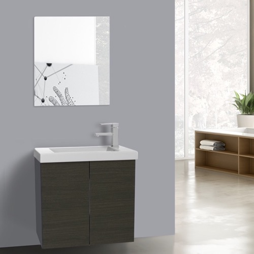 23 Inch Grey Oak Bathroom Vanity with Ceramic Sink, Mirror Included