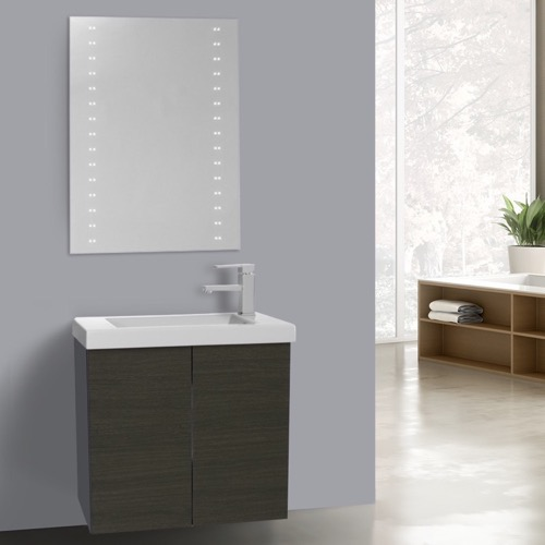 23 Inch Grey Oak Bathroom Vanity with Ceramic Sink, Lighted Mirror Included