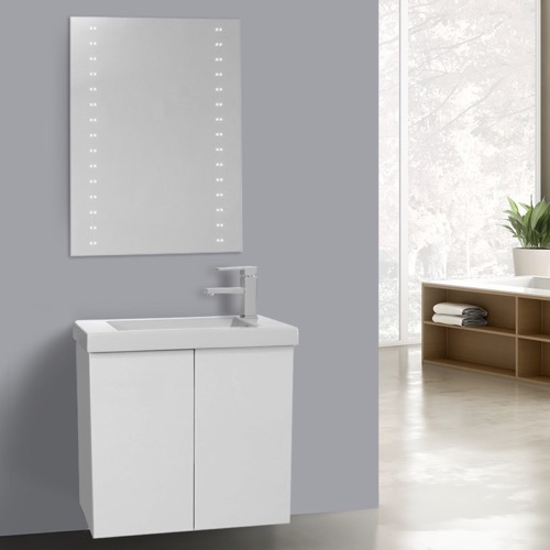 23 Inch Glossy White Bathroom Vanity with Ceramic Sink, Lighted Mirror Included