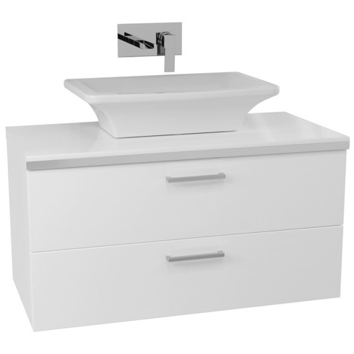 38 Inch Glossy White Double Vessel Sink Bathroom Vanity, Wall Mounted