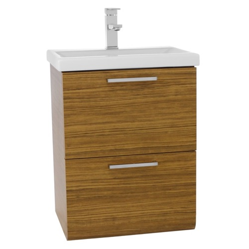 19 Inch Small Teak Wall Mounted Bathroom Vanity with Fitted Sink