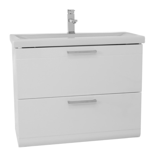 30 Inch Glossy White Wall Mounted Vanity with Fitted Sink