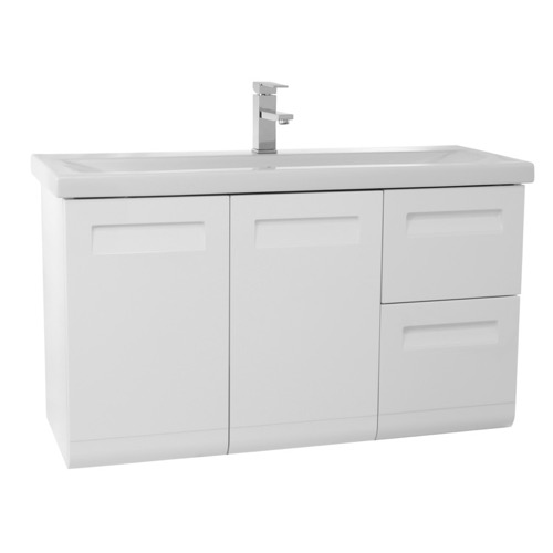 38 Inch Wall Mounted Glossy White Vanity with Inset Handles