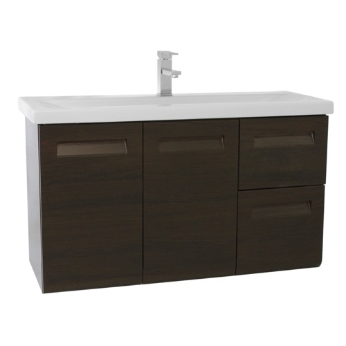 38 Inch Wall Mounted Wenge Vanity with Inset Handles