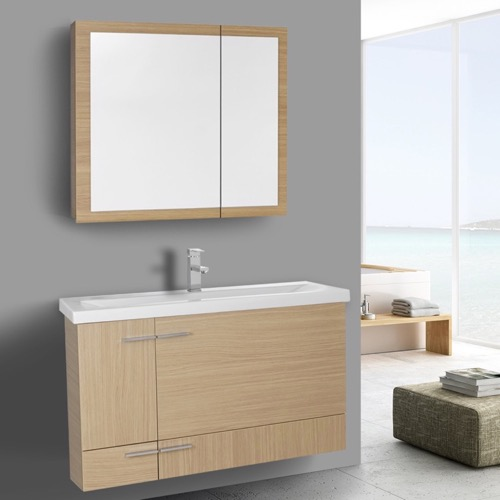 39 Inch Natural Oak Wall Mounted Vanity with Ceramic Sink, Medicine Cabinet Included