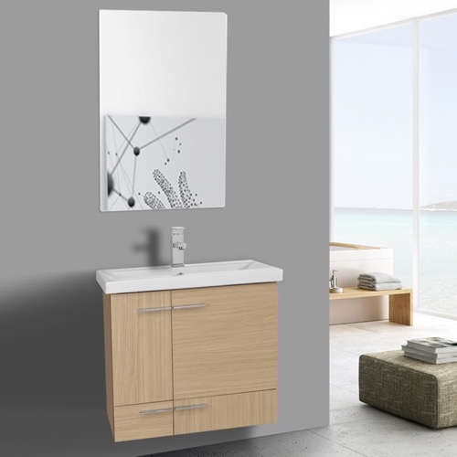 24 Inch Natural Oak Wall Mounted Vanity with Ceramic Sink, Mirror Included