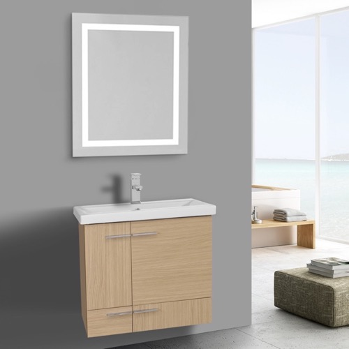 23 Inch Natural Oak Bathroom Vanity, Wall Mounted, Lighted Mirror Included
