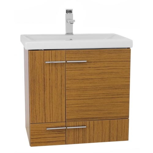 24 Inch Teak Wall Mounted Vanity with Ceramic Sink