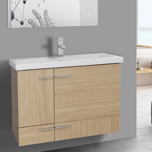 32 Inch Natural Oak Wall Mounted Vanity with Ceramic Sink