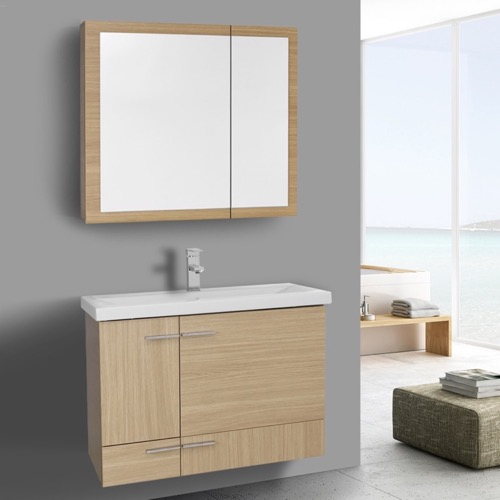 32 Inch Natural Oak Wall Mounted Vanity with Ceramic Sink, Medicine Cabinet Included