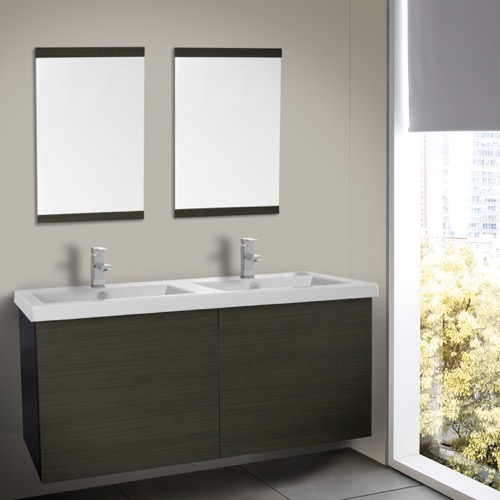 47 Inch Grey Oak Double Bathroom Vanity with Ceramic Sink, Mirror Included