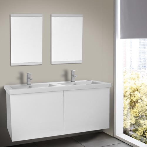 47 Inch Glossy White Double Bathroom Vanity with Ceramic Sink, Mirror Included