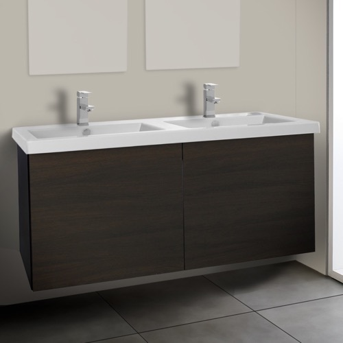 47 Inch Wenge Double Bathroom Vanity with Ceramic Sink