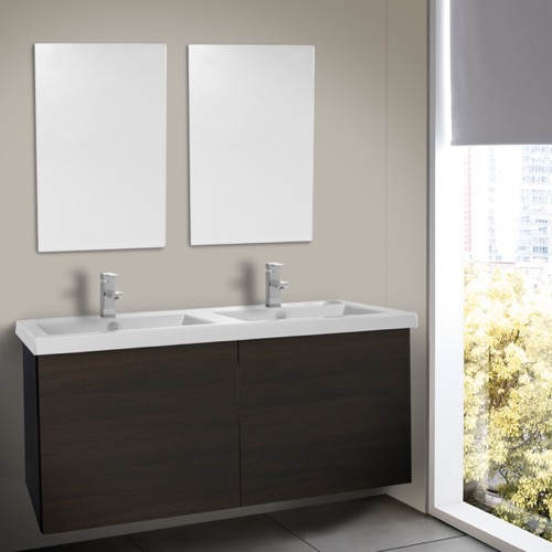 47 Inch Wenge Double Bathroom Vanity with Ceramic Sink, Mirrors Included