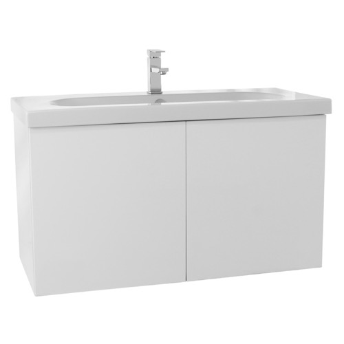 39 Inch Glossy White Bathroom Vanity with Ceramic Sink