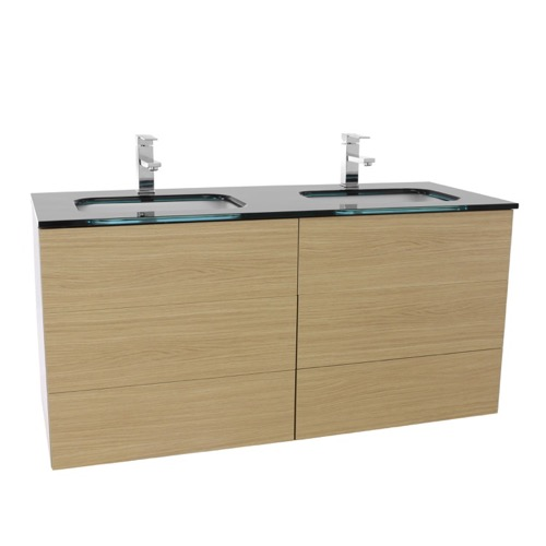 47 Inch Natural Oak Double Vanity with Black Glass Top, Wall Mounted