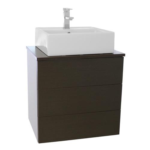 24 Inch Wenge Vessel Sink Bathroom Vanity, Wall Mounted