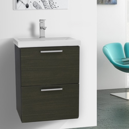 19 Inch Small Grey Oak Wall Mounted Bathroom Vanity with Fitted Sink