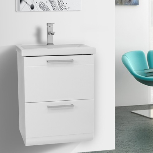 19 Inch Small Glossy White Wall Mounted Bathroom Vanity with Fitted Sink