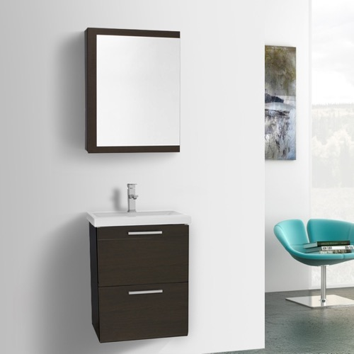 19 Inch Small Wenge Wall Mounted Bathroom Vanity with Fitted Sink, Medicine Cabinet Included