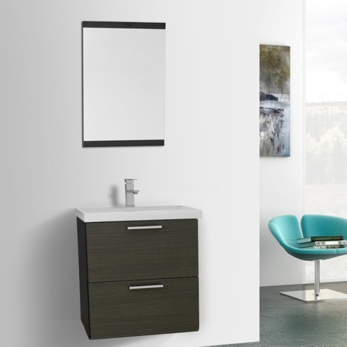22 Inch Grey Oak Wall Mounted Vanity with Fitted Sink, Mirror Included