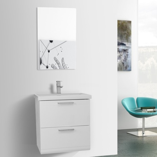 22 Inch Glossy White Wall Mounted Vanity with Fitted Sink, Mirror Included