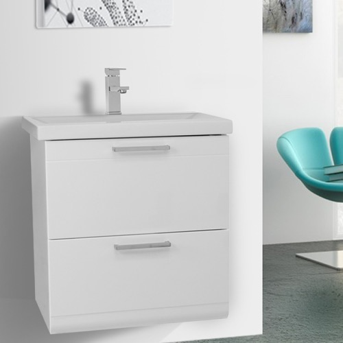 23 Inch Glossy White Wall Mounted Vanity with Fitted Sink
