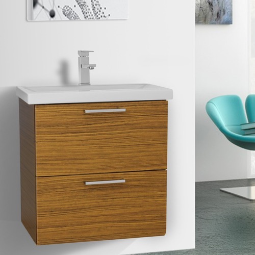 23 Inch Teak Wall Mounted Vanity with Fitted Sink