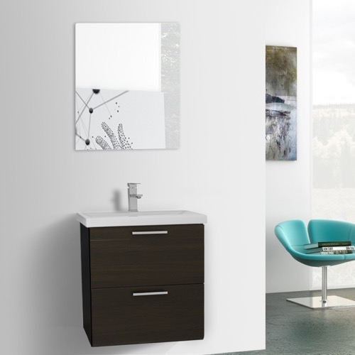 23 Inch Wenge Wall Mounted Vanity with Fitted Sink, Mirror Included