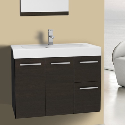 30 Inch Wall Mount Wenge Bathroom Vanity Set