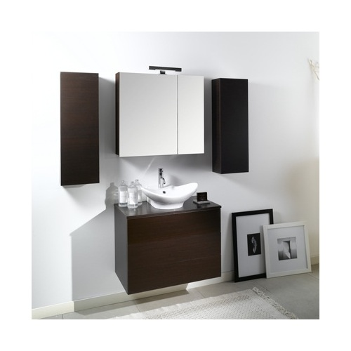 Bathroom Vanity, Iotti NT9, Modern Vanity Set with Sink, Cabinet and Wood Top NT9