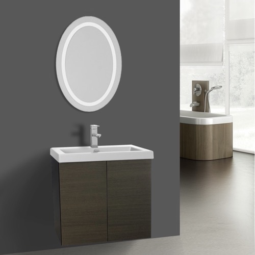 23 Inch Grey Oak Bathroom Vanity, Wall Mounted, Lighted Mirror Included