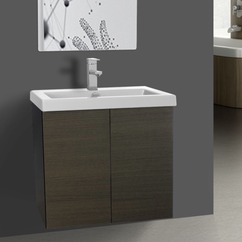 23 Inch Grey Oak Bathroom Vanity with Ceramic Sink