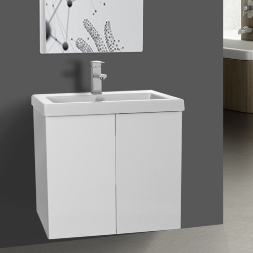 23 Inch Glossy White Bathroom Vanity with Ceramic Sink