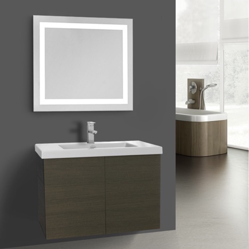 23 Inch Glossy Grey Bathroom Vanity, Wall Mounted, Lighted Mirror Included