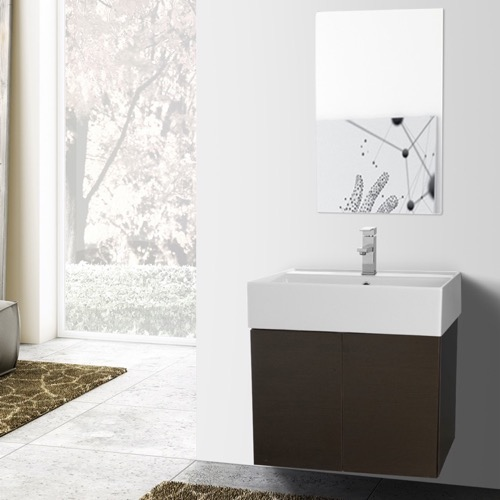 23 Inch Wenge Bathroom Vanity with Ceramic Sink, Mirror Included