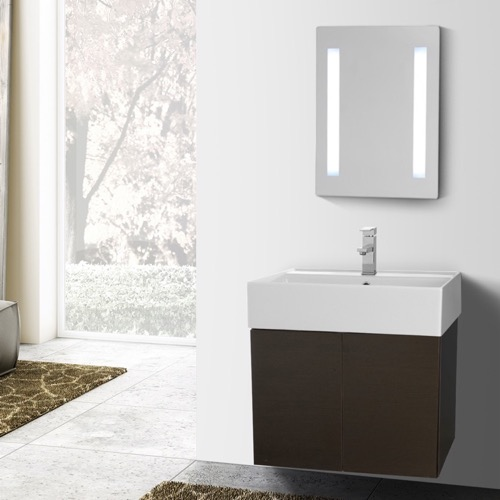 23 Inch Wenge Bathroom Vanity with Ceramic Sink, Lighted Mirror Included