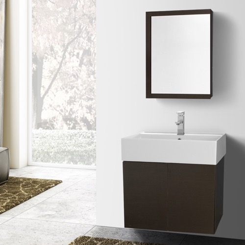 23 Inch Wenge Bathroom Vanity with Ceramic Sink, Medicine Cabinet Included
