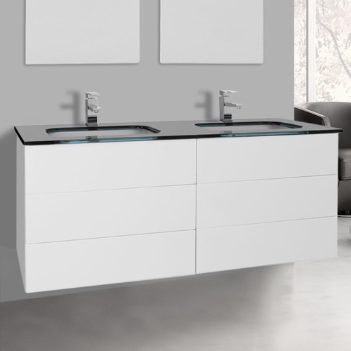 47 Inch Glossy White Double Vanity with Black Glass Top, Wall Mounted
