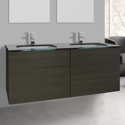 47 Inch Grey Oak Double Vanity with Black Glass Top, Wall Mounted