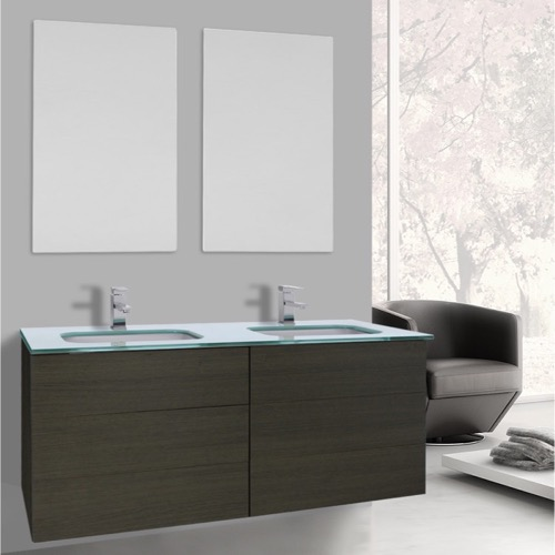 47 Inch Grey Oak Double Vanity with White Glass Top, Wall Mounted, Mirrors Included