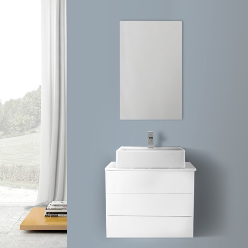 24 Inch Glossy White Vessel Sink Bathroom Vanity, Wall Mounted, Mirror Included