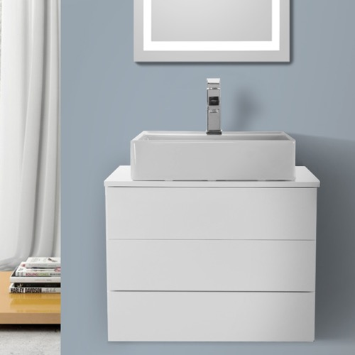 24 Inch Glossy White Vessel Sink Bathroom Vanity, Wall Mounted