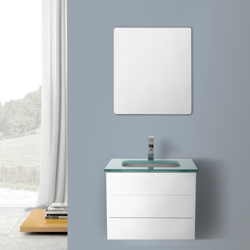 24 Inch Glossy White Bathroom Vanity with Black Glass Top, Wall Mounted, Mirror Included