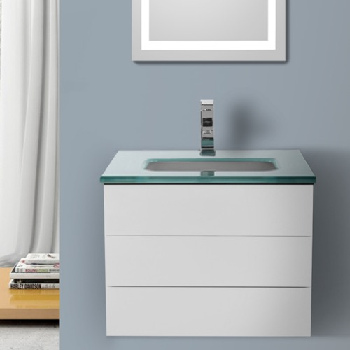 24 Inch Glossy White Bathroom Vanity with White Glass Top, Wall Mounted