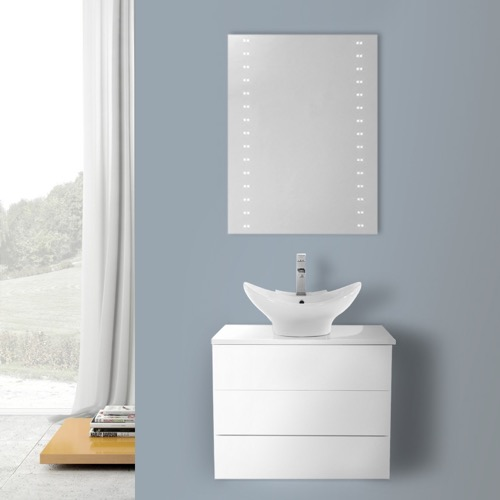 24 Inch Glossy White Vessel Sink Bathroom Vanity, Wall Mounted, Lighted Mirror Included