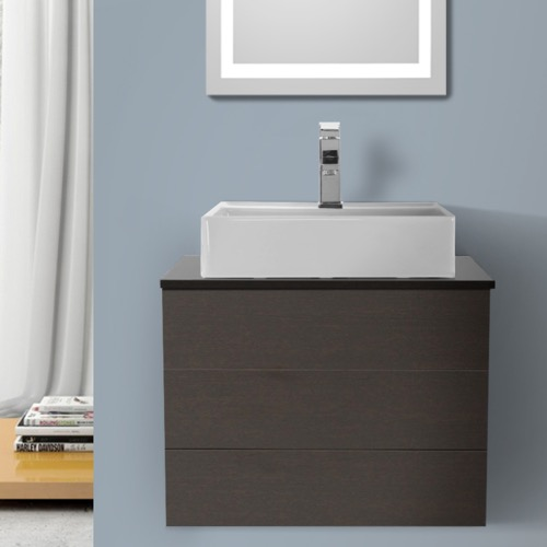24 Inch Wenge Vessel Sink Bathroom Vanity, Wall Mounted
