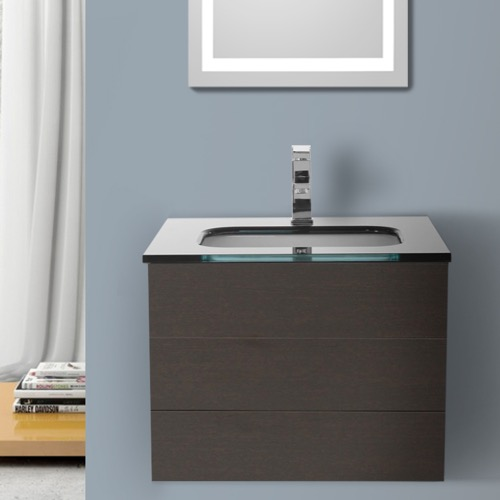 24 Inch Wenge Bathroom Vanity with Black Glass Top, Wall Mounted