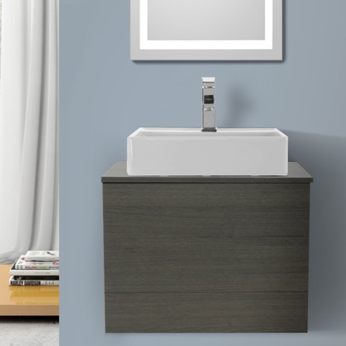 24 Inch Grey Oak Vessel Sink Bathroom Vanity, Wall Mounted